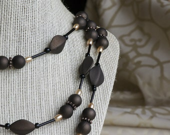 Brown & Champagne Multi-Strand Beaded Necklace