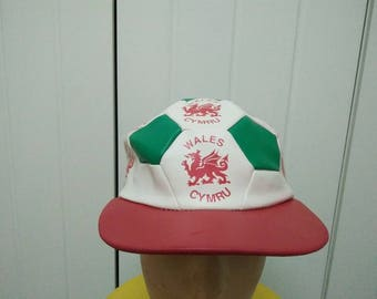 Rare Vintage WALES CYMRU Half Ball Design Cap Hat Free size fit all