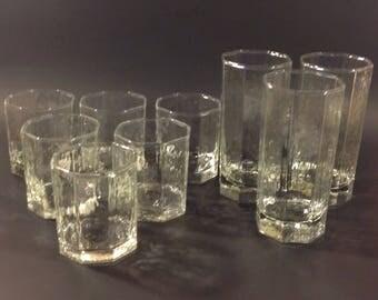 Vintage Libbey Glasses Rock Sharpe FACETS Clear Glasses 3 Tea Water 6 Rocks Juice
