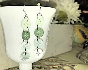 Green button earrings