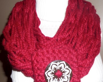 Cranberry Hand-Knit Infinity Scarf with Wooden Floral Button - M
