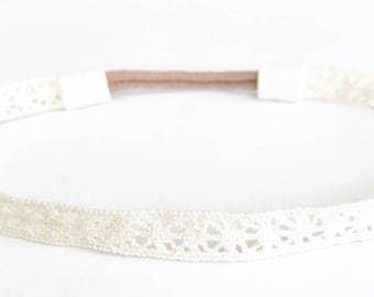 Ivory beige lace baby boho headband newborn prop