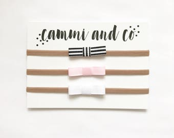 Grosgrain Emmi Bow headband Set of 3 choose your own colors