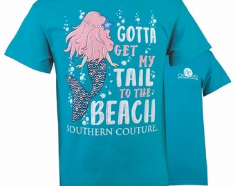 SC Classic My tail to the Beach - Tropical Blue....You may choose to have this personalized by getting your shirt Monogrammed.