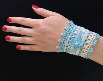 Bridal Cuff, Bride's Bracelet, Lace Bracelet, Blue Crochet Bracelet, Braided Crochet Bracelet, Crochet Bracelet, Blue Wristband, Beaded Lace