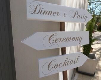 Panneaux direction en bois pour mariage. Pancartes PERSONNALISABLE mariage. Flèche mariage.Signalétique bois.  Wedding wood sign