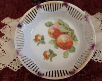 "Vintage Schumann German Porcelain Reticulated 9"" Bowl Adorned With Red Apples"