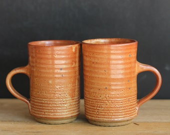 Pottery mug set, hand thrown tea cup set, tea cup pottery set of 2, ceramic coffee cup, ceramic tea cup, stoneware mug, teacup