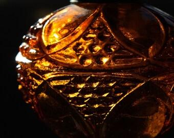 Amber Pressed Glass Kerosene Lamp made in Hong Kong