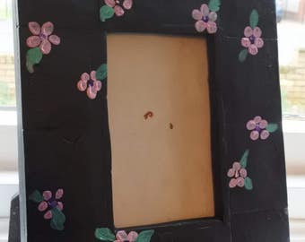 Hand made, hand painted floral photo frame
