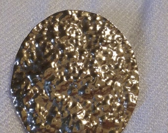 Vintage Oval gold nugget look Yellow Gold Tone Dress/Shoe Clip
