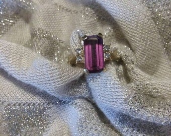 Vintage Avon amethyst and cz ring size 5.75