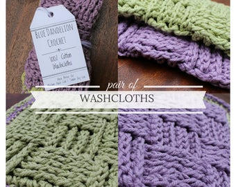 Pair of Washcloths, Crochet washcloths, Washcloths, Cotton Washcloths, Colorful Washcloths, Two Washcloths