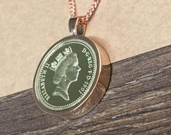 1999 18th birthday One pound coin pendant - rose gold plated
