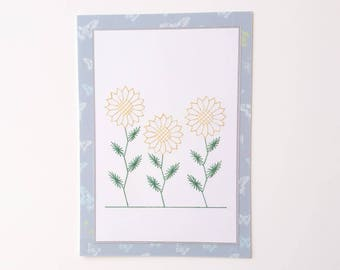 Greetings card, Birthday card, Hand-stitched greetings card, Hand-stitched birthday card, Sunflowers, Hand-stitched sunflowers
