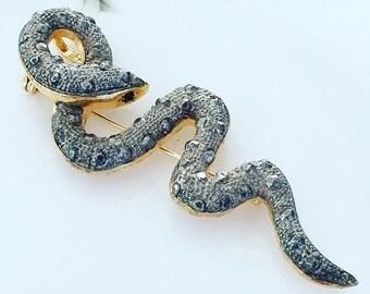 Vintage Snake Brooch, Vintage 1980's Large Snake Serpent Brooch Pendant, Gift For Her