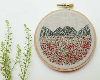 Poppy Meadow. Embroidery Hoop Art. Mountain Embroidery. Landscape. Embroidery Art. Hand Embroidered. 4 inch hoop. Hand Embroidery. Fiber Art