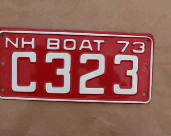 Vintage 1973 New Hampshire Boat License Plate