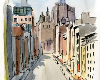 5x7 Original Watercolor Painting - Chinatown