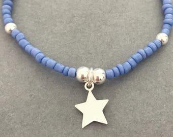Sterling Silver & Blue Seed Bead Star Charm Bracelet