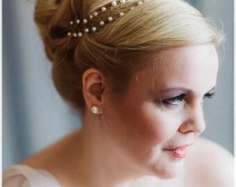 Hair chain halo gold bride