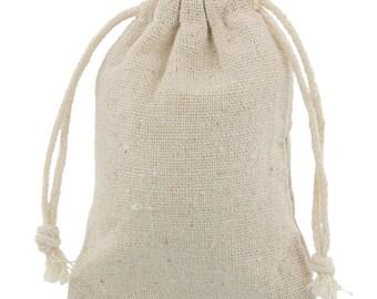200 pieces Linen-Cotton Mini Drawstring Bags 7,5x10cm