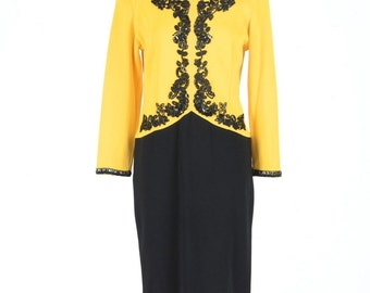 Adrienne Attadini yellow & Black dress M Size (Vintage)