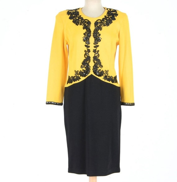 Adrienne Attadini yellow & Black dress M Size (Vintage)