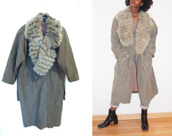 80s Vintage Off-Grey Double BreastedTrench Coat With Fur Trim Collar