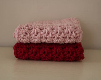 Knit Dish Cloths- Valentines Dish Cloths- Cotton Dish Rag- Dish Towels- Wash Cloth - dish cloth - Set of 2 dish cloths - crochet dish cloth