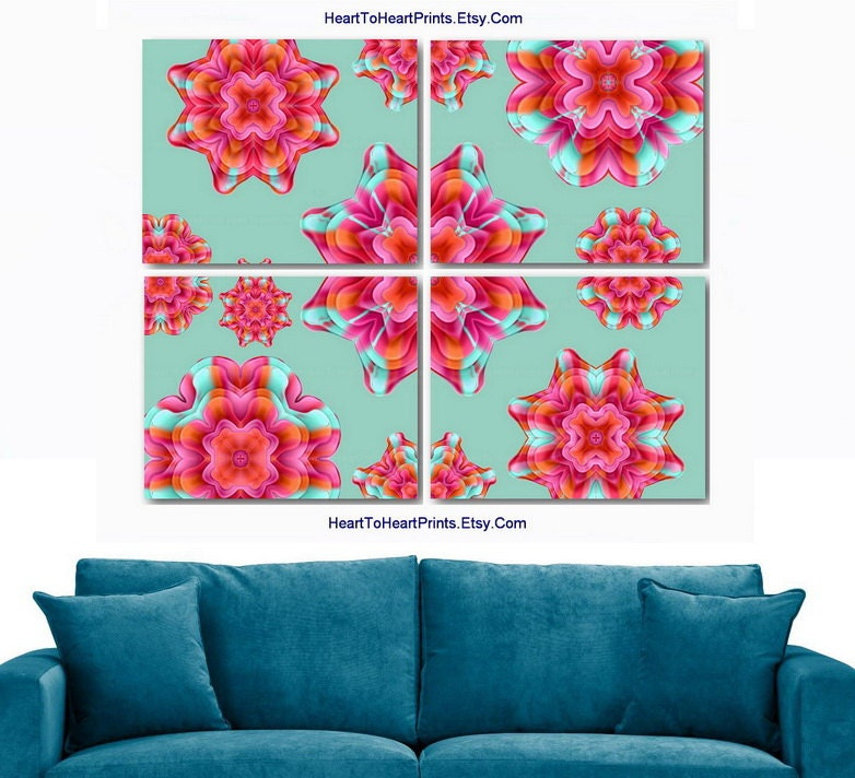 Coral Red Teal Mint Wall Decor Floral By Hearttoheartprints