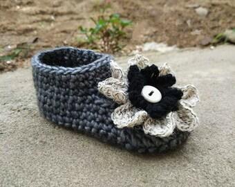 Toddler Booties Homemade Baby Boot Socks with Big Crochet Flower