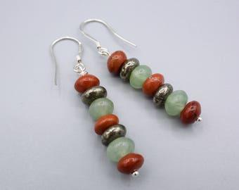 Stack Earrings, red jasper Earrings, Pyrite Earrings ,green Aventurine earrings, 925 Silver