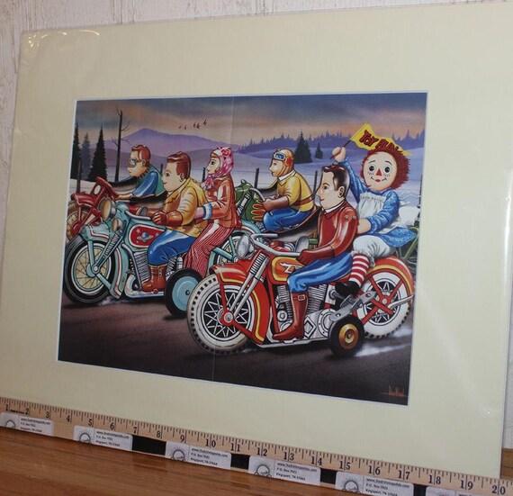 David Mann ''Toy Run'' 16'' x 20'' Matted Motorcycle Biker Art #9112ezrxmc