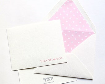 Thank You Cards - Professional Stationery - Lined Stationery - Fleur De Lis Pink - Flat Cards