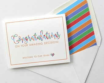 Welcome to the Team - Welcome Cards (Perfect for Rodan and Fields Consultants) - Chunky Diagonal Stripe