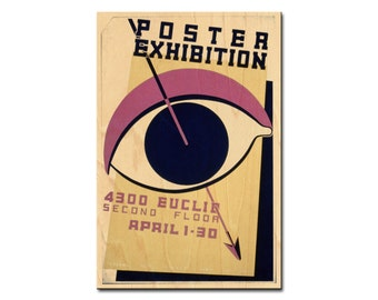 Poster exhibition, 4300 Euclid, Second floor - WPA Exhibition Poster - wooden postcard, wedding table number, wood print, wood wall decor