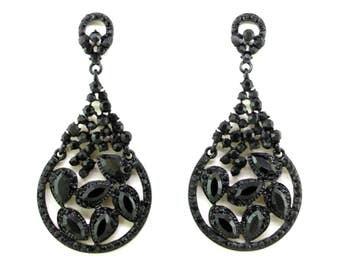 Black Chandelier EarringsCrystal CHAND BALI Chandelier