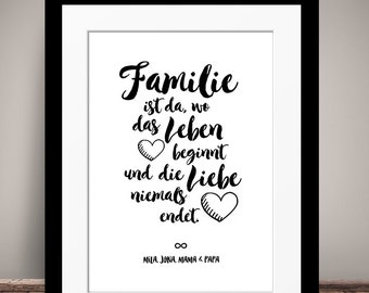 Personalized FAMILY - art print, mural painting, print, DIN A4