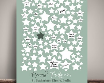 GUESTBOOK POSTER, baptism, stars, personalized DIN A3 gift