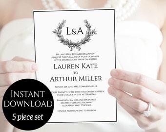 Wedding Invitation Template, Monogram Invitation, Wedding Invitation Set, Classic Wedding Invitation, Elegant Wedding Invitation, Package