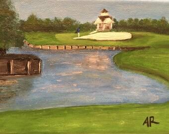 Hole 16; acrylic painting, canvas art, golf, green