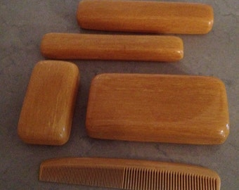 Vintage Men's Celluloide Plastic Covered Boxes and Comb Toiletry Travel Set