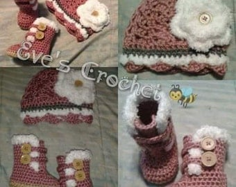 Baby girl crochet Hat and uggs