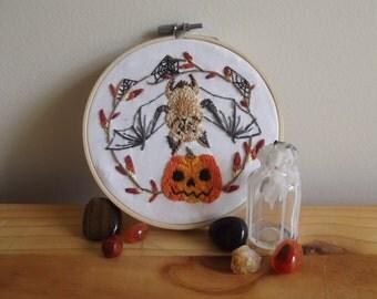 Bat & Pumpkin Halloween Embroidery Design