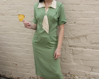 1930s dress RARE green linen and silk polka dot bowtie 1930s art deco day dress with pockets