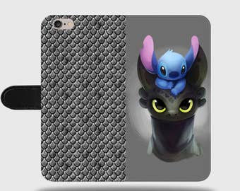 Stitch Toothless Disney Dragon Koala Art Ohana Faux Leather Phone Cover with Magnetic Clasp for iPhone and Samsung Galaxy LM022