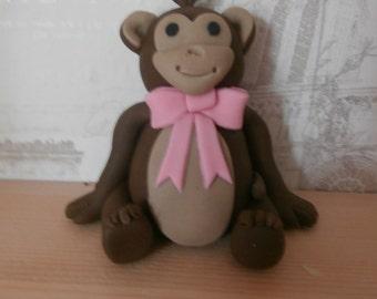 Edible Monkey cake topper,sugar paste,birthday,christening,boy,girl,animal,decoration