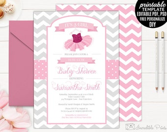 printable tutu baby shower invitation template girl baby shower invitation template ballerina baby shower