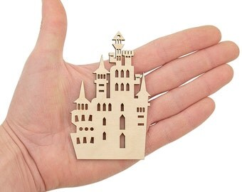 Wooden Witches Castle (10cm) Shape, Halloween, Fairytale Castle, Art Projects Craft Decoration Gift Decoupage Ornament MG000454